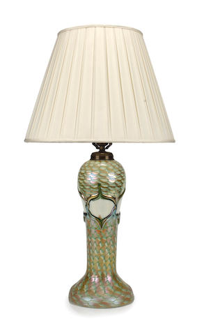 A Quezal applied and decorated iridescent glass lamp base circa 1915