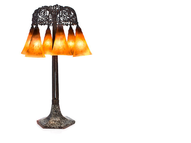 An Edgar Brandt and Daum Nancy wrought-iron, glass and porphyry Seaweed umbrella lamp circa 1920-21