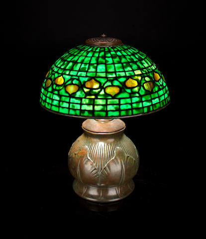 A Tiffany Studios Favrile glass and bronze Acorn lamp 1899-1918