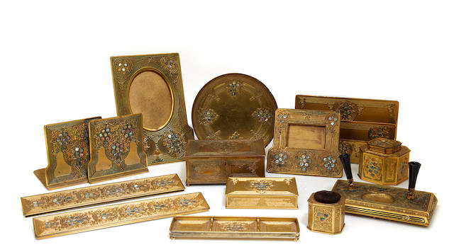 A Tiffany Studios gilt-bronze twelve-piece Abalone desk set  1899-1918