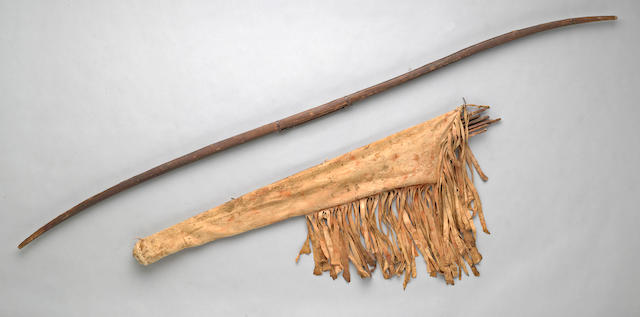 A Mohave/Yuma/Colorado River bow case, bow and arrows