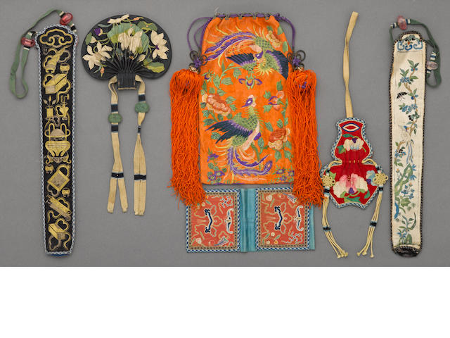 A group of six silk clothing accessories 19th/20th century