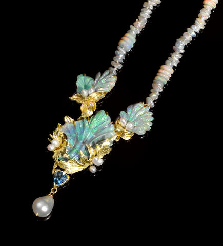 Black Opal, Tanzanite and South Seas Cultured Pearl  Pendant Necklace