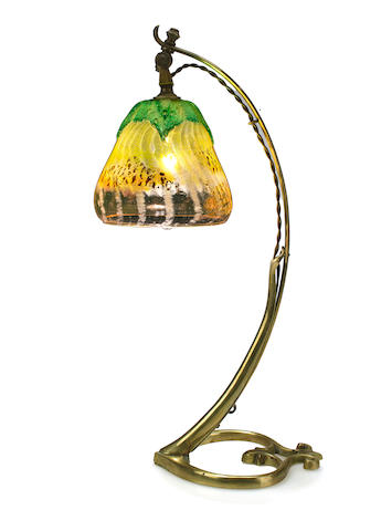 A good Daum Nancy internally-decorated and applied cameo glass and bronze lamp  circa 1900