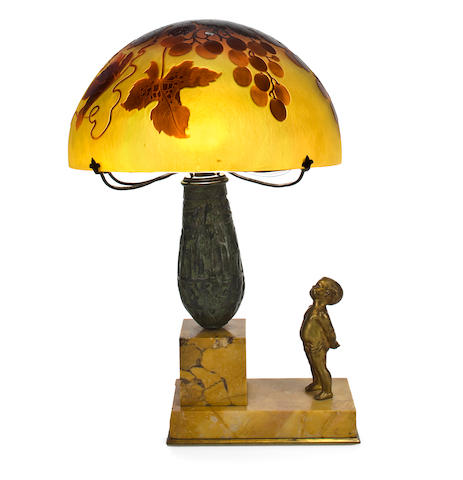 A D'Argental cameo glass and parcel-gilt bronze figural lamp circa 1900