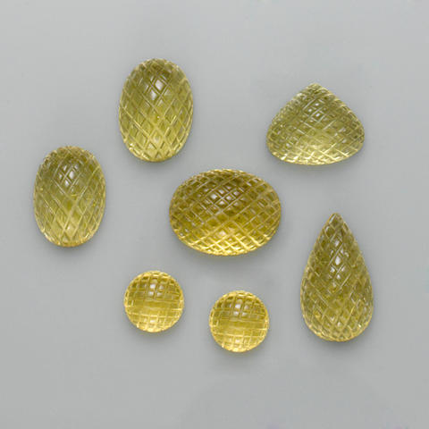 Seven Carved Citrines