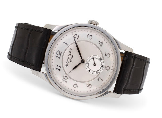 Patek Philippe. A fine platinum Calatrava wristwatchRef: 5196P, Case No. 4271496, Movement No. 1888368, completed 2004
