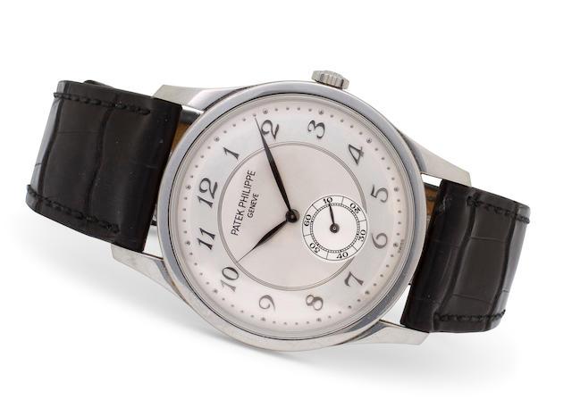 Patek Philippe. A fine platinum Calatrava wristwatchRef: 5196P, Case No. 4271496, Movement No. 1888368