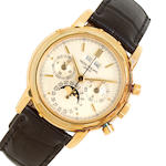 Patek Philippe. A fine 18K gold chronograph wristwatch with perpetual calendar and moon phaseRef:3970, Case no. 2837144, Movement no. 875206, sold 1988