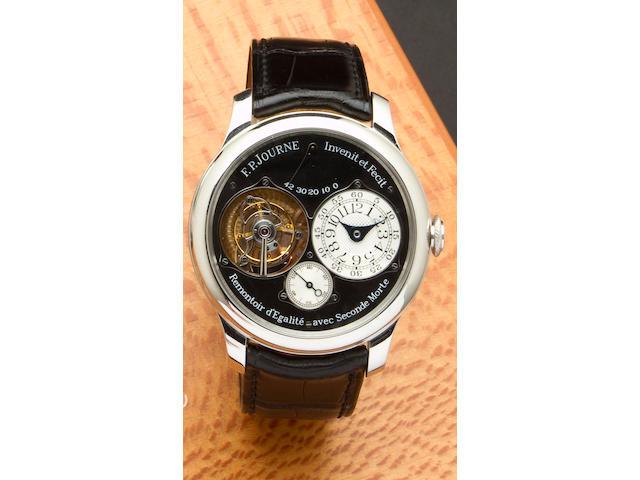 F. P. Journe. A very fine and rare platinum tourbillon wristwatch with power reserve and remontoire displaying dead beat secondsTourbillon Souverain, Remontoire d'Egalite avec Secondes Morte, No. 360 – TN, sold 2007