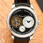 F. P. Journe. A very fine and rare platinum tourbillon wristwatch with power reserve and remontoire displaying dead beat secondsTourbillon Souverain, Remontoire d'Egalite avec Secondes Morte, No. 360 – TN, sold 2007