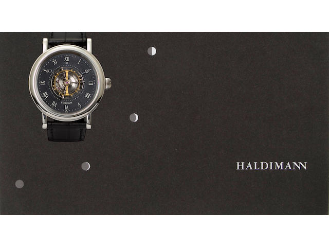 Beat Haldimann. An extremely fine platinum precision wristwatch with central flying tourbillonH1, No. 19, completed 2005