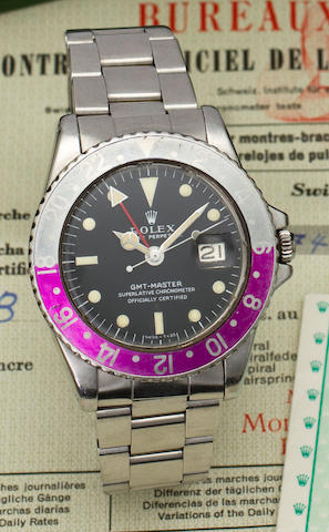 Rolex. A fine stainless steel automatic dual time center seconds bracelet watch with date and with Bulletin de MarcheGMT-Master, Ref:1675, No. 1762576, case dated IV.67
