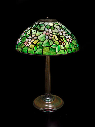 A Tiffany Studios Favrile glass and patinated-bronze Apple Blossom table lamp 1899-1918