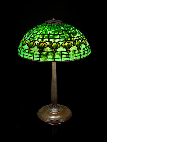 A Tiffany Studios Favrile glass and patinated-bronze Pomegranate table lamp 1899-1918