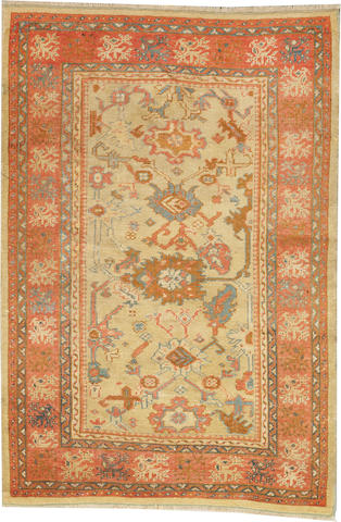An Oushak carpet  West Anatolia size approximately 4ft. 6in. x 6ft. 7in.