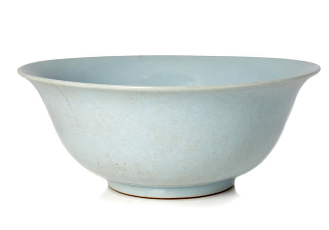 A large Ru-type glazed porcelain bowl  Qianlong mark and period