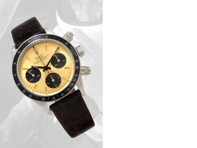 Rolex. A fine stainless steel tachymeter chronograph wristwatchCosmograph, Ref:6265, Case no. 3504219, circa 1972