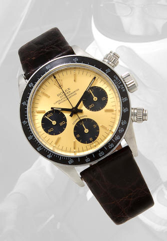 Rolex. A fine stainless steel tachymeter chronograph wristwatchCosmograph, Ref:6265, Case no. 3504219, circa 1972
