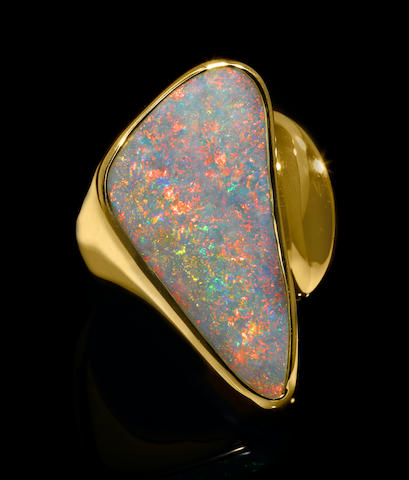 Rare Gem Crystal Opal Ring
