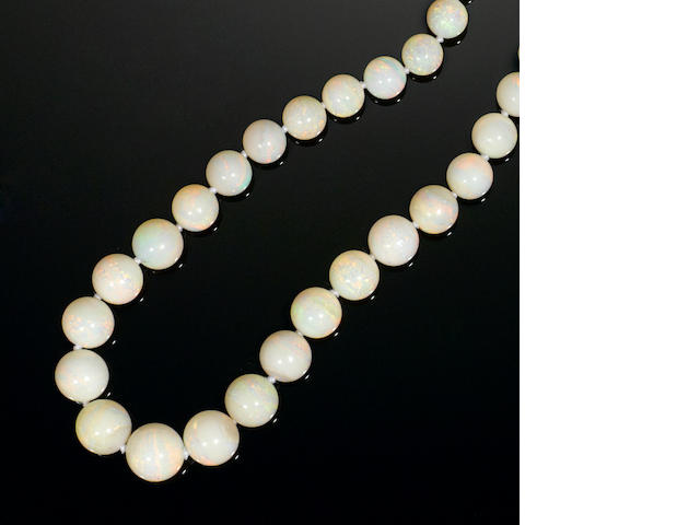 Rare and Fine White Crystal Opal Rope Length Necklace