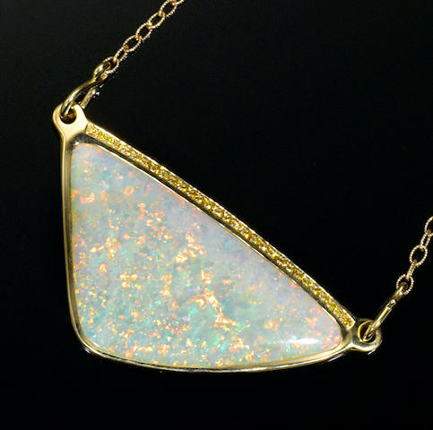 Reversable White Crystal Opal and Diamond Pendant Necklace
