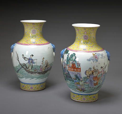 A pair of famille rose enameled porcelain vases  Qianlong marks, Late Qing/Republic Period