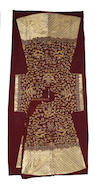 An embroided russet silk ground uncut dragon robe Republic period