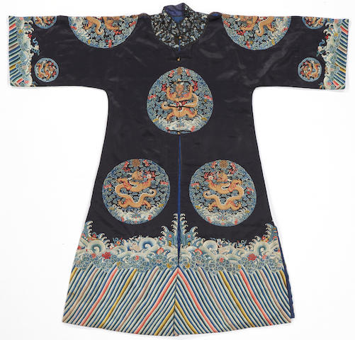 A Manchu noblewoman's black silk ground embroidered surcoat, longgua 19th century