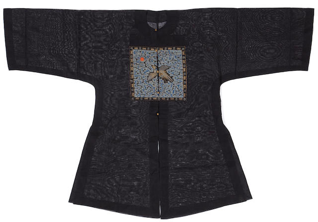 An official's black silk gauze summer coat with embroidered square of the second civil rank, pufu Late Qing dynasty