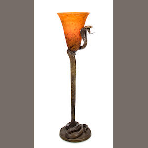 An Edgar Brandt gilt-bronze cobra lamp base with modern shade circa 1925