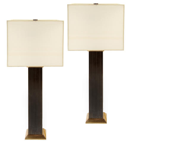 A pair of Karl Springer patinated-metal lamps