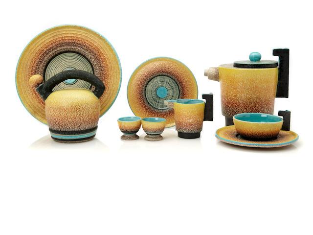 A Nicholai Diugherof & Tullio d'Albisola glazed-earthenware Futurist tea set produced by Torido Mazzotti, Italy, circa 1936