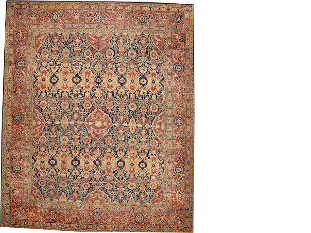 A Kashan carpet (outer border has been rewoven) Central Persia size approximately 12ft. 6in. x 15ft. 1in.
