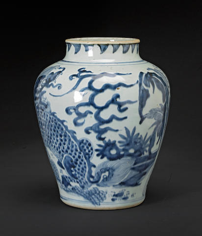 A blue and white porcelain ovoid jar Transitional period