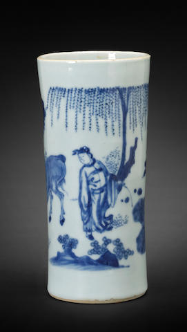 A blue and white porcelain cylndrical brush pot, bitong Transitional period
