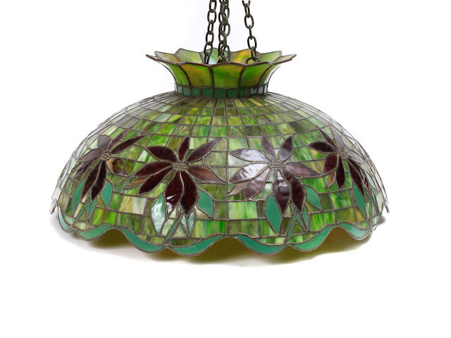 An American leaded glass and bronze Poinsettia hanging light fixture early 20th Century