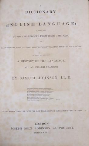 JOHNSON, SAMUEL. 1709-1784. A Dictionary of the English Language. London: Joseph Ogle Robinson, 1828.<BR />
