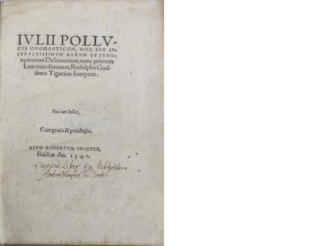 SWISS IMPRINTS—16TH CENTURY. 1. ALTENSTEIG. Vocabularius. [Basel : A. Petri de Langendorff], 1515.