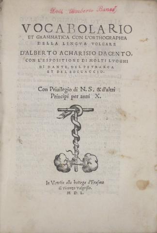 ITALIAN IMPRINTS—16TH CENTURY. 1. CALEPINO. Vocabularius. Thesaurus copiosissimus: ex Nicolai Perotti Cornucopie. Toscolano: Alessandro Paganino, 1522.