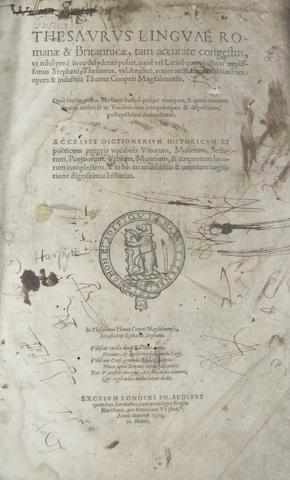 COOPER, THOMAS. c.1517-1594. Thesaurus Linguae Romane et Britannicae.... Henry Wykes for Berthelet, 1565.<BR />