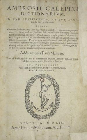 VENICE IMPRINTS—16TH CENTURY. 1. PEROTTUS, NICHOLAUS, et al. In hoc volumine habentur haec Cornucopiae.... Aldus and Andrea Torresani, 1513.