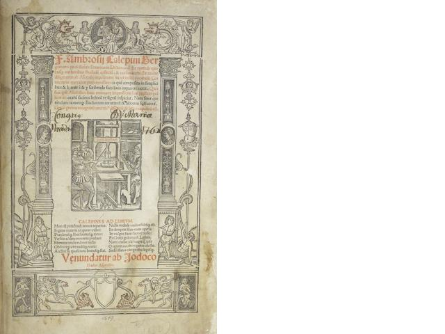 "FRENCH IMPRINTS—16TH CENTURY. 1. CALEPINUS. Dictionarium. ""Paris"" [but Strasbourg: Gruninger, c.1510]."