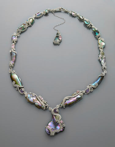 California Abalone Pearl and Gem-set Necklace