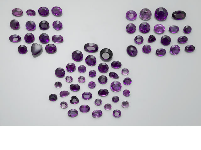 Group of German-cut Amethysts