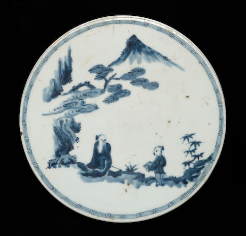 A blue and white porcelain plaque 17th Century