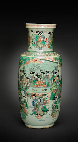 A massive famille verte enameled porcelain baluster vase Kangxi mark, 19th century