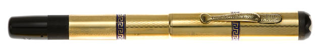 [Vintage] MONTBLANC: 2B Guilloche and Greek Key 18K Solid Gold Safety Fountain Pen, c.1930