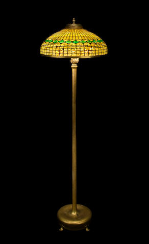 A Tiffany Studios Favrile glass and gilt-bronze Geometric floor lamp 1899-1918