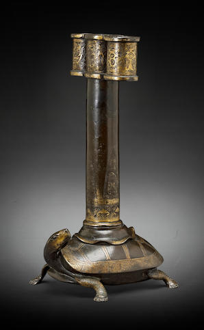A parcel-gilt bronze 'arrow' vase, touhu Ming dynasty